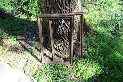 Antique Pair Picture Frame Wooden Rectangle two 2 Large Wood Hand Carved Thin
