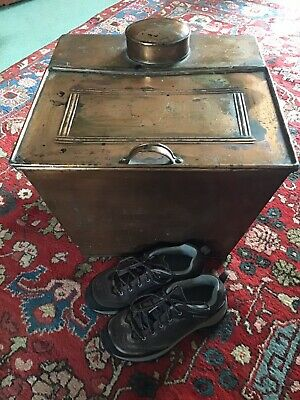 Vintage Copper Arts And Crafts Boot Box,Fire Side Box, Slipper Box.