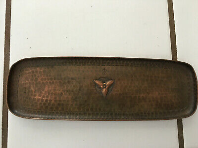 Antique Arts and Crafts Roycroft Hammered Copper Tray- Trefoil Design