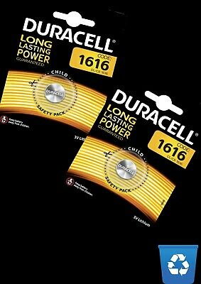 Duracell CR1616  X2 3V Lithium Coin Cell Battery ++Expires END 2028++ 2 Batts.