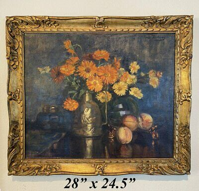 """Antique French Oil Painting in Gilt Wood Frame, Still Life w Flowers, Vase, 28"""""""