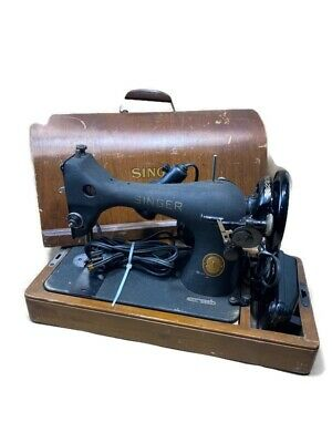 1952 Vintage Antique Old Singer Model 128 Sewing Black Machine Godzilla Wrinkle