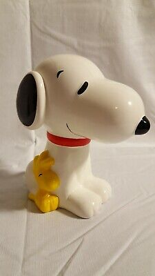 Large Peanuts Snoopy and Woodstock Ceramic Coin Bank Figurine 2015 Dog Bird
