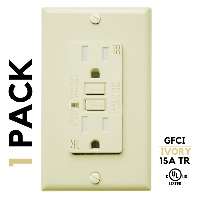 1 Pack, IVORY, 15A AMP, GFCI GFI, Receptacle Outlet, TR Tamper Resistant, UL