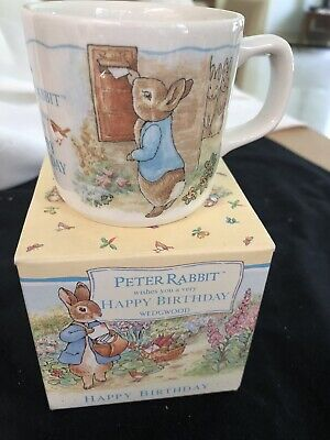 Vintage Wedgwood Peter Rabbit Porcelain Child's Birthday Mug With Handle Bnib
