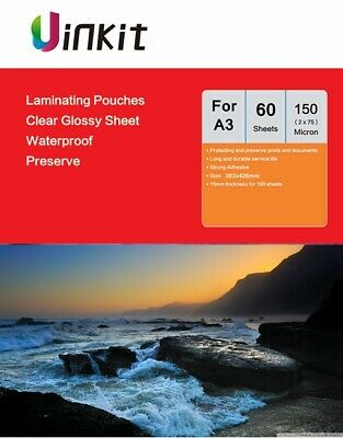 60Sheets Thermal A3 Laminating Pouches 303x426mm Sheets 150Micron75x2  Uinkit