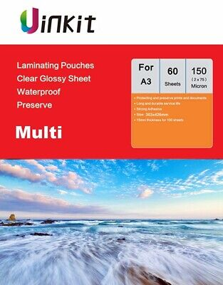A3 Hot Laminating Pouches 303x426mm Sheets 150Micron75x2 Transparent Film Uinkit