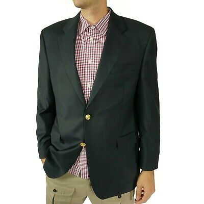 Lauren Ralph Lauren Mens Blazer Size 43 R Slim Dark Blue Gold Buttons Wool