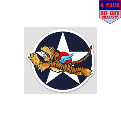 Us Army Air Corps Wwii Flying Tigers 4 pack 4x4 Inch Sticker Decal