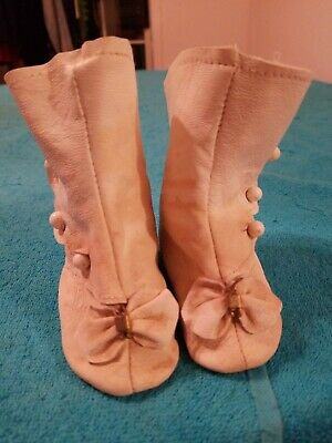 Antique Baby Shoes Boots 1900s Victorian High Button Bow Soft White Leather