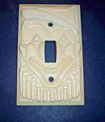 Vintage CLOWN FACE Wall Switch Plastic Plate Single 1950's Reliance Plastics