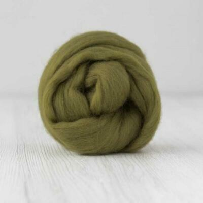 Green Merino Wool Roving Combed Top - Olive Green