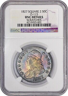 Rainbow Toned 1827 Capped Bust Half Dollar Square 2 Base NGC UNC DETAIL Toning