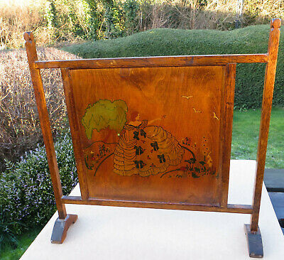 Vintage Art Deco Hand Decorated Wooden Oak Fire Screen with Crinoline Lady