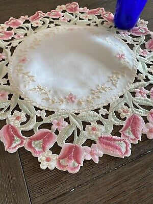 Vintage Pink Embroidered Doily Tulips NWOT 🌷