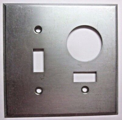 Industrial 2 Gang USA Switch Outlet Combo Plate Wall Cover Satin Stainless Steel