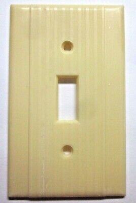 Peco Switch Wall Plate Cover Ribbed Dark Beige Bakelite Art Deco Classic Vintage