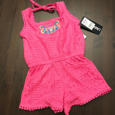 Limited Too Girls Size 4 Pink Lace Romper