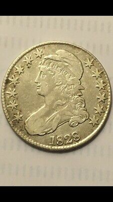1828 Capped Bust Half Dollar Sq 2 Small 8 LL Fine  Details Lettered Edge