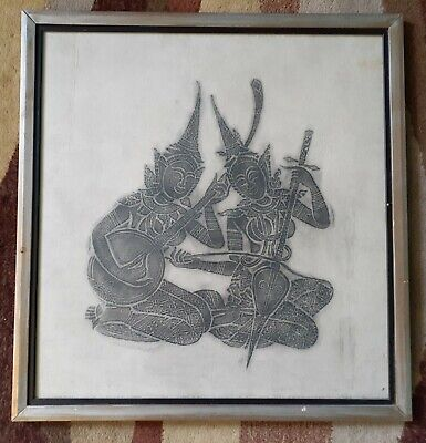 Antique Thailand Ink Rubbing Rice Paper Picture Art Musical Instruments