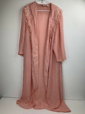VTG Victorias Secret House Coat Robe Pink Floral Lace Long Sleeve Sheer Medium