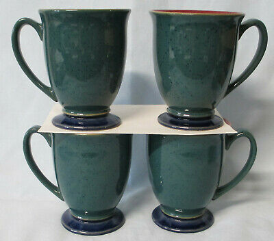 Denby Harlequin Red Green Blue Footed Mug Set of 4
