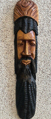 "Wooden tribal Carved Wall Hanging LARGE 27"" Bearded Face Carving Extraordinary!"