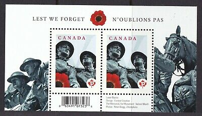 CANADA 2009 # 2341a -'LEST WE FORGET'  SOUVENIR  SHEET OF TWO STAMPS MNH