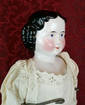 Antique German China Head Lady Doll High Brow Black Hair w/ Center Part Large