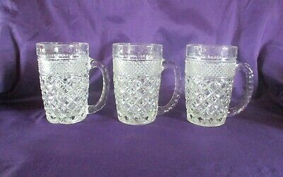 Rare Vintage Anchor Hocking Wexford 14 Ounce Beer Mugs x 3 Collectable Barware