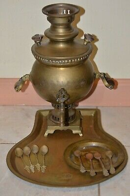 Antique 19th century Small RUSSIAN brass Samovar with Tray ,6 spoons, plate 1.5L