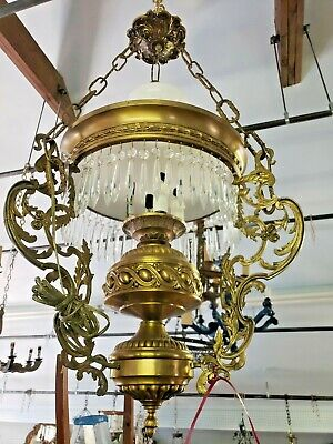 Antique Vintage Brass & Crystals Ceiling Light Fixture Rewired