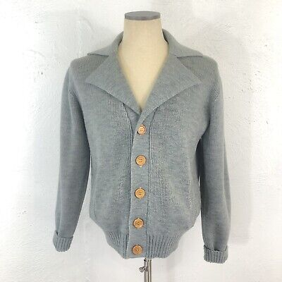 Vintage 60s Pebble Beach Sportswear Mens Atomic Collared Cardigan Sweater Gray