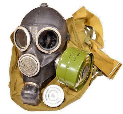 Vintage Soviet Russian Gas Mask GP-7 Size 3 - Large. FULL SET! RARE SIZE! BLACK