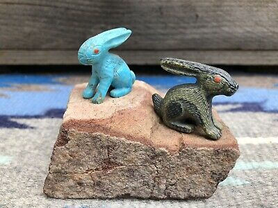 Zuni Rabbit Fetish Carvings. Hand Carved By Master Carver Fabian Cheama.