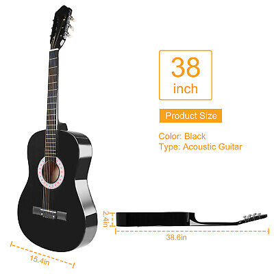 "39"" Beginners Acoustic Guitar with Tuner Pick Steel Strings Guitar Case Strap"