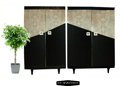 Two Vintage Retro Geometric Decor Gentleman's Wardrobe hand painted Upcycled