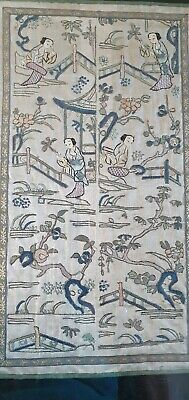 Antique Oriental Embroidery forbidden stitched  cuff sleeve band panels textile