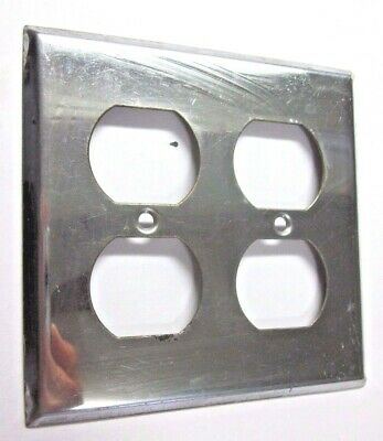Outlet Wall Plate Cover Vintage 2 Gang Retro Polished Chrome Plated Steel