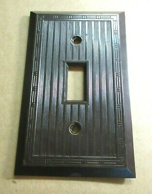 Bryant Hemco Switch Plate Wall Cover Dashed Lines Brown Bakelite Deco 1 Antique