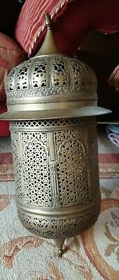 Antique very Large morrocan Pierced Brass Hanging Lantern electric adapted heavy