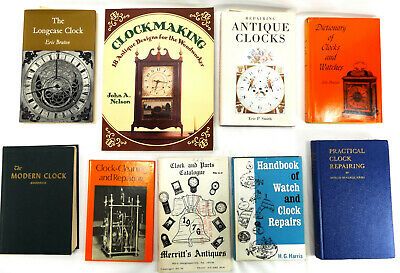 Antique Clock Repair Book LOT Cleaning Building Clockmaker vtg Watch Horology