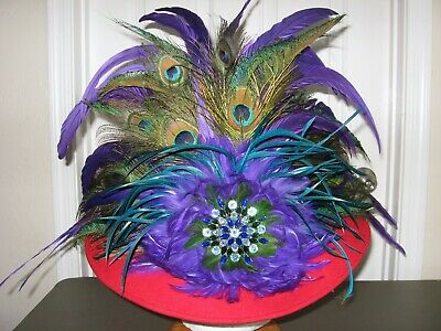 Pink Derby Hat Flower Peacock Feathers Hat,Hot Pink Royal Wide Brim Hat