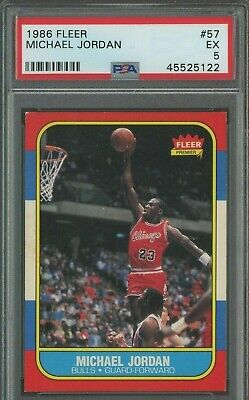 1986 Fleer #57 Michael Jordan Chicago Bulls RC Rookie PSA 5 EX