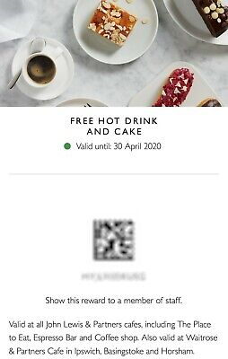 John Lewis Hot Drink and Cake Voucher