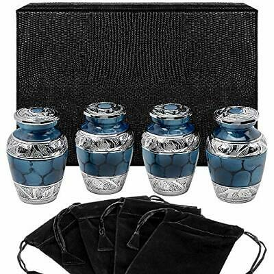 Heavenly Peace Dark Blue Small Keepsake Urns for Human Ashes - Set of 4 - Set