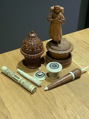 Antique Sewing Items a Group of Seven Pin,Thimble Holders & Figural Cotton Reel