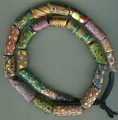 African Trade beads glass Vintage Venetian old glass mixed millefiori chipped