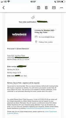 2 X Wireless Festival 2020 Friday 3rd July Tickets