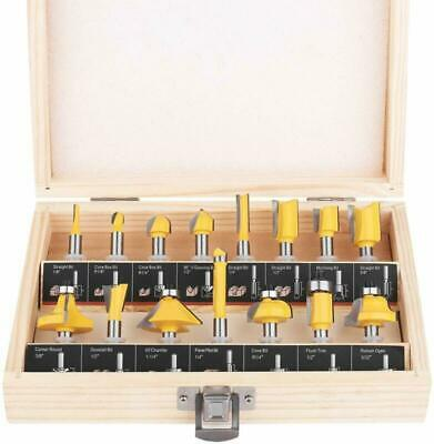 KOWOOD Router Bit Set of 15 Pieces 1/4 Inch Shank - for Commercial Users and Beg